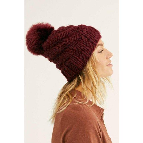 NEW Free People High Line Knit Pom Pom Beanie Hat Maroon Winter Fleece Lined